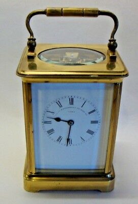 Late 19th brass cased chiming carriage clock by Hillstead