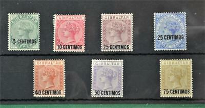 Gibraltar 7 Victorian 1889 Surcharge Set Stamps  H/m   (Y117)
