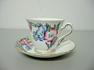 Rosina Poppy Flowers Cup and Saucer Bone China England
