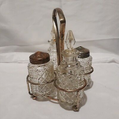 Vintage Set Of Clear Glass Salt And Pepper Shakers With Two Oil Jars And Handled