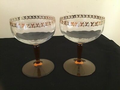 2 x Vintage Art Deco 1920s Crystal Champagne/Coupe Glasses