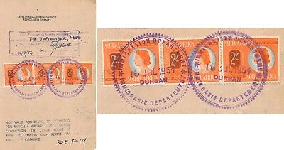 South Africa 1955, Passport Page W/ Postage Stamps Used As Consular, Rare! #k645