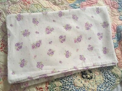 Vintage Shabby Chic Ditsy Floral Cabbages Lilac Pink Roses Flannel Pillow Case