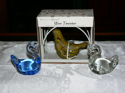 "Three Beautiful Blown Glass Birds-One ""Wee Tweeter"" in Original Box + Swans"
