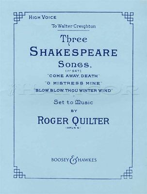 3 Shakespeare Songs op. 6 High Voice Vocal Sheet Music Book Classical Quilter