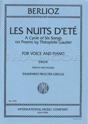 Berlioz Les Nuits D'eté High A Cycle of 6 Songs on Poems Vocal Sheet Music Book