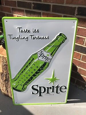 "Sprite Coca Cola Made In U.S.A Embossed Advertising Sign Large 17""x24"" No Res!"
