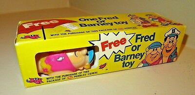 Vintage 1990 Post Pebbles Cereal Vinyl Barney Toy in Box from Top of Box