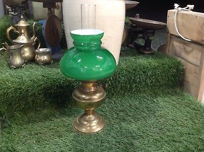 Lovely Vintage Double Wick Brass Oil Lamp With Chimney Green Shade Complete