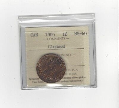 **1905**,ICCS Graded Canadian, Large One Cent, **MS-60**Cleaned
