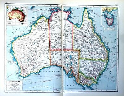 Vintage Antique Original 1920 Print Map Of Australia Double Page Colour