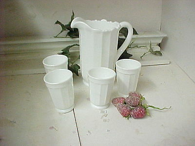 White 8 Inch Panel Pitcher and 4 Tumblers-Hand Made Mosser Glass