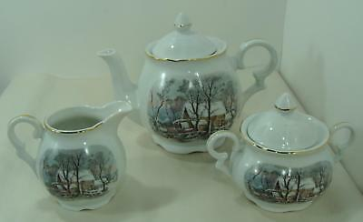 Avon Currier & Ives The Old Grist Mill Teapot Covered Sugar Bowl & Creamer Set
