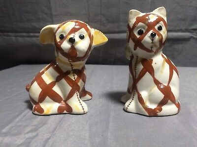Vintage Gingham Dog & Cat Porcelain Salt & Pepper Shakers