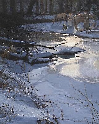 "John BUXTON "" Breaking Camp At Turtle Creek  "" LE edition Canvas signed Native"