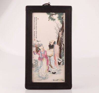 China Precious Wood Handmade Porcelain Plate Painting Old Antique Collection