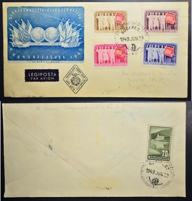 HUNGARY to USA 1929 Cpl Labor Union Congress Set on Airmail Cover FDC , Ungarn
