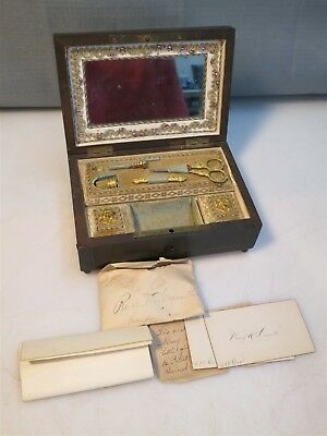 Vintage Antique 19th Century Sewing Box w Gilt Sewing Items Cravath Family 1863