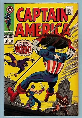 Captain America # 105 Vfn+ (8.5) Batroc - Kirby Art - High Grade Us Cents Copy