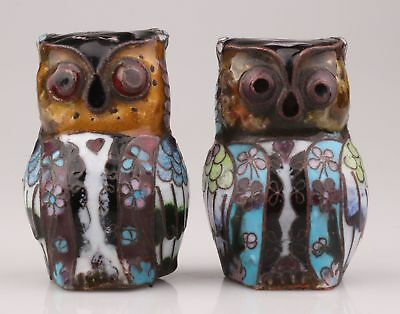 2 Rare Chinese Cloisonne Enamel Statue Old Hand-Made Animal Owl Mascot Ornament