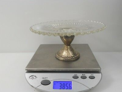 """6.5"""" Weighted Duchin Sterling Silver and Cut Glass Bonbon Dish 385.6g"""
