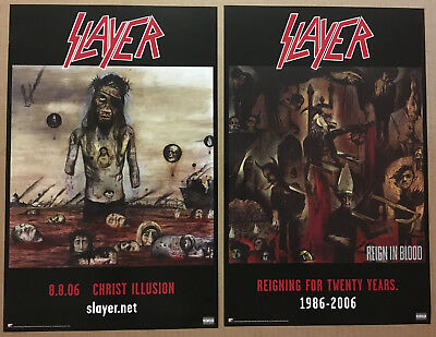 SLAYER Rare 2006 DOUBLE SIDED PROMO POSTER of Christ / Reign CD NEVER DISPLAYED