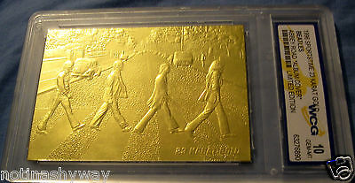 BEATLES 23Kt Gold Card Man Abbey Road Help U Big Apple New York City London LOL