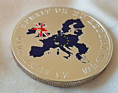 Brexit Silver Coin Great Britian Leave EU Europe Referendem Vote Polotical Map