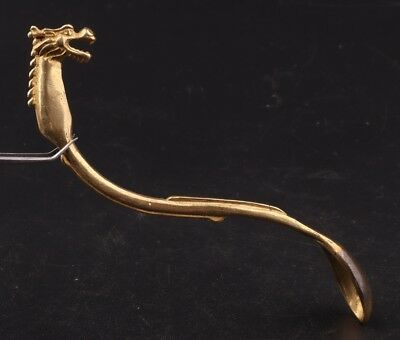China Rare Brass Hand-Carved Bibcock Statue Medicine Spoon Old Collection
