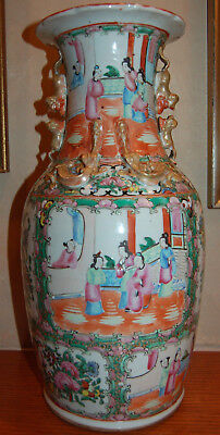 Antique Rose Medallion 17 1/2 Inch Tall Vase 9 Inches In Diameter Beautiful