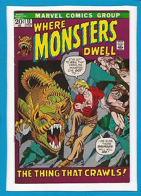 """Where Monsters Dwell #13_Jan 1972_Fine Minus_""""the Thing That Crawls""""_Bronze Age!"""