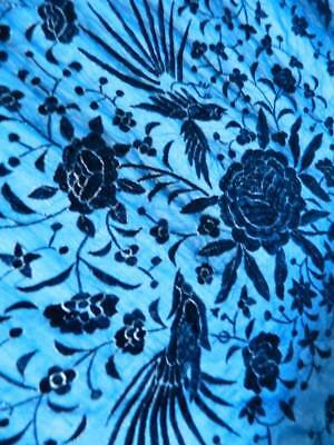 Antique vintage blue silk Canton piano opera shawl embroidered Peony & Birds