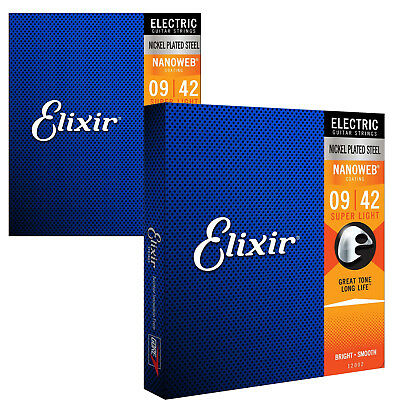 Elixir 12002 Nanoweb Coated Electric Guitar Strings, Super Light, 09-42 (2 Pack)