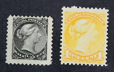 CKStamps: Canada Stamps Collection Scott#34 35 Victoria Mint H OG, #34 Tiny Thin