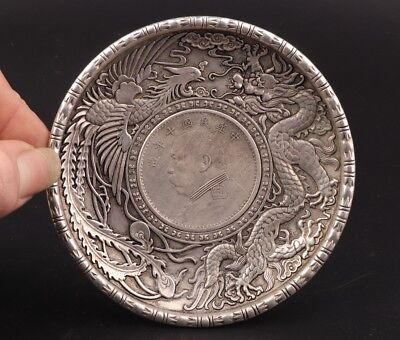 China Precious Silver-Plated Hand-Carved Coin Dragon And Phoenix Statue Plate