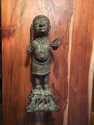 "BENIN WARRIOR FIGURE FROM SOUTHERN NIGERIA, 12"" tall"
