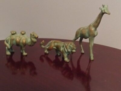 Lot Of 3 Solid Brass Miniature Animal Figurines Camel, Lion and  Giraffe