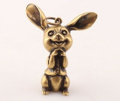 Vintage  Brass Hand Carving Rabbit Animal Statue Figurine Pendant Collection