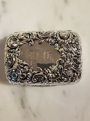 Antique Victorian Gorham Sterling Silver Floral Repousse Soap Case
