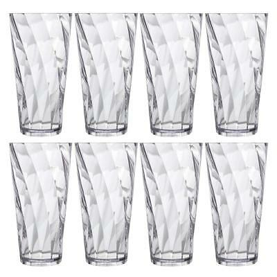 Clear Plastic Cup 8 Pc Drinking Glasses Tea Water Restaurant Tumblers Set NEW