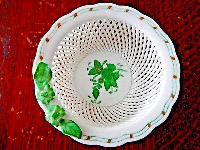 Vintage Herend Hand Painted Open Work Basket Dish -Dainty and Beautiful