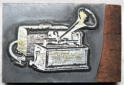 Columbia Type A Cylinder Graphophone Advertising Printers Block