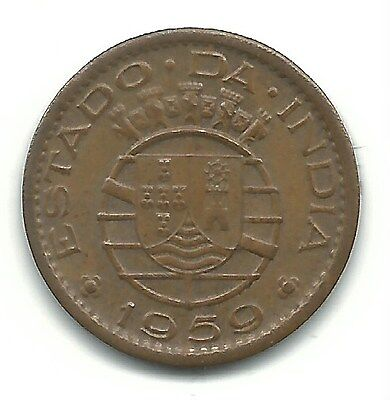 Very Nice High Grade Au 1959 Portuguse India 10 Centavos-Feb005