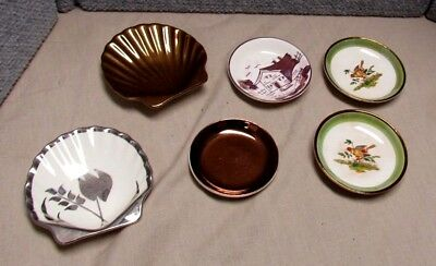 6 Antique Luster Butter Pats Shell Shaped Dishes Old Castle Grays Pottery Others