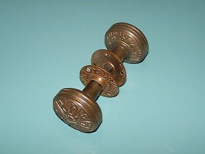 Ornate Vintage Brass Door Knobs Set With Rosettes