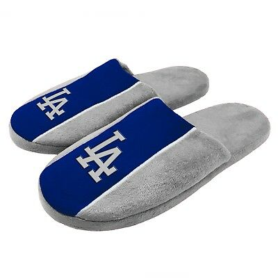Pair of Los Angeles Dodgers Big Logo Stripe Slide Slippers House shoes New STP18