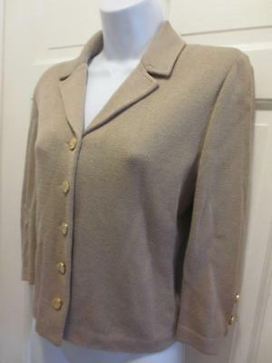 ST. JOHN By MARIE GRAY Womens SOFT TAUPE Santana Knit BLAZER Jacket 4 S Small