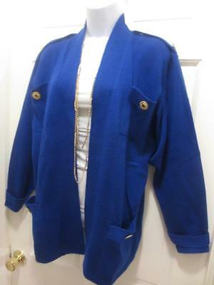 ST. JOHN By Marie Gray Gorgeous BLUE LONG Santana Knit BLAZER Jacket M Medium