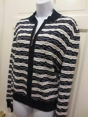 ST. JOHN Marie Gray Black & White TEXTURED Santana Knit JACKET Blazer L Large