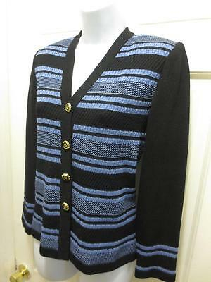 ST. JOHN By Marie Gray Womens BLACK BLUE Santana Knit BLAZER Jacket 2 S Small